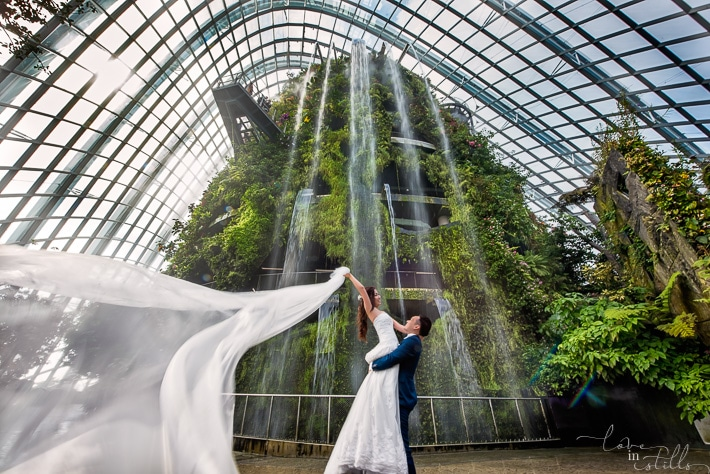 Yan Shou and Joyce Prewedding, Gardens by the Bay, Cloud Forest, Singapore photographer, the gown warehouse